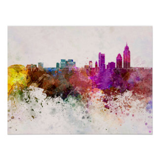 Mobile skyline in watercolor background poster