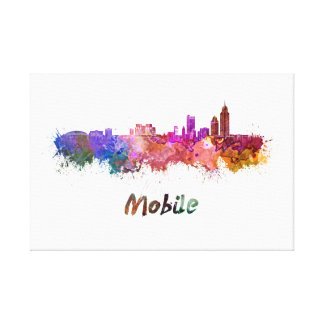 Mobile skyline in watercolor canvas print