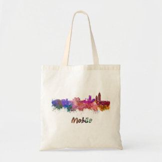 Mobile skyline in watercolor tote bag