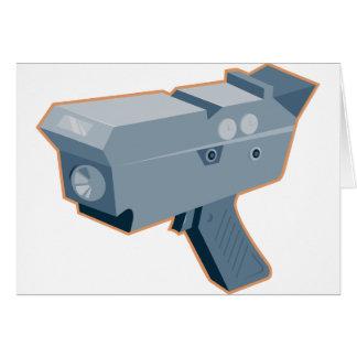 mobile speed camera radar gun retro card