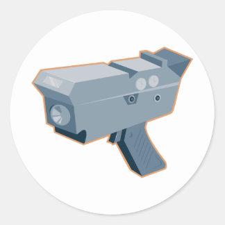 mobile speed camera radar gun retro classic round sticker