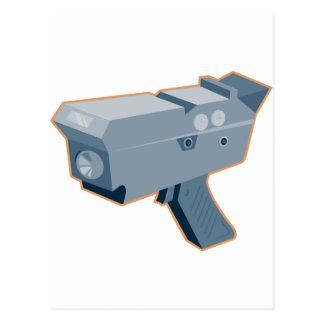 mobile speed camera radar gun retro postcard