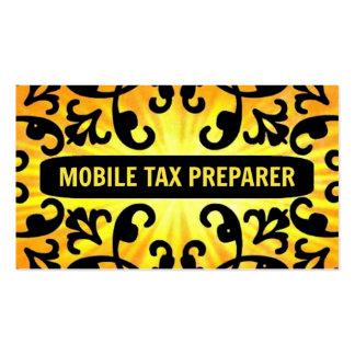 Mobile Tax Preparer Sunshine Damask Business Card