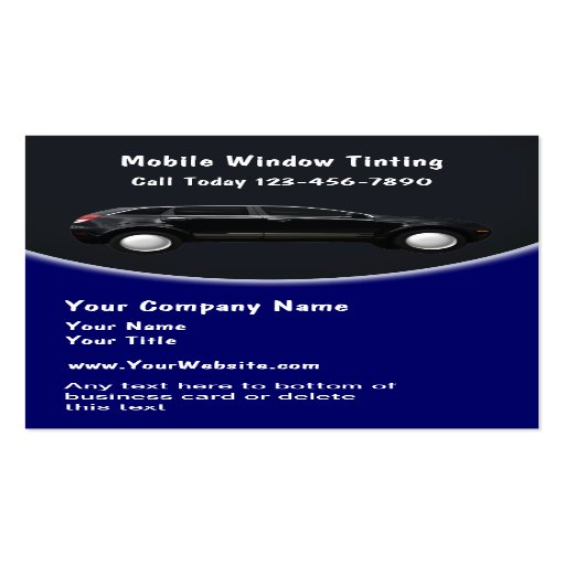 Mobile Window Tinting Business Cards