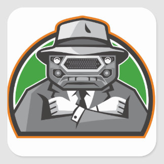 Mobster Car Grille Face Arms Folded Front Retro Square Sticker