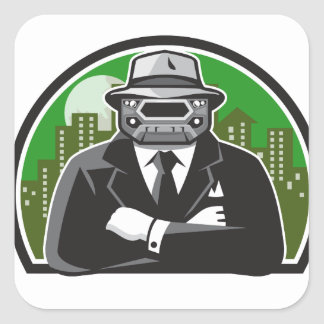 Mobster Car Grille Face Circle Retro Square Sticker