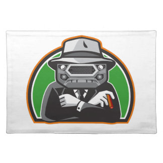Mobster Car Grille Face Half Circle Retro Placemat