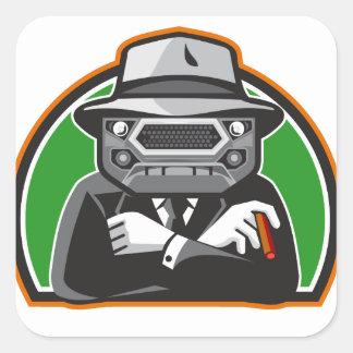 Mobster Car Grille Face Half Circle Retro Square Sticker