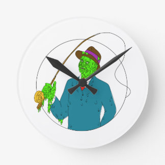 Mobster Fisherman Fly Rod Reel Grime Art Round Clock