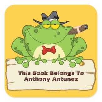 Mobster Frog Bookplate Square Sticker