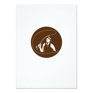Mobster Gangster Fly Fisherman Circle Retro Card