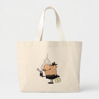 Mobster Holds Gun and Sack of Money Canvas Bag