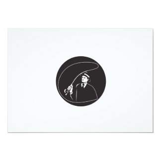 Mobster Suit Tie Casting Fly Rod Circle Retro Card