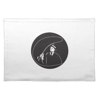 Mobster Suit Tie Casting Fly Rod Circle Retro Placemat