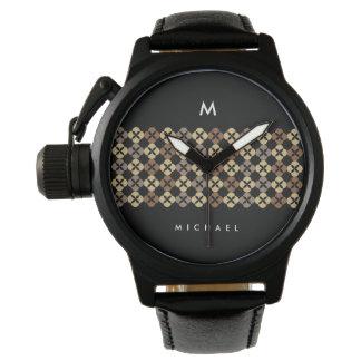 Moca Brown Quatrefoil con el monograma adaptable Relojes De Pulsera