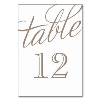 Moca Brown y números elegantes blancos de la tabla