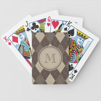 Moca Chocca Brown Argyle con el monograma Baraja Cartas De Poker