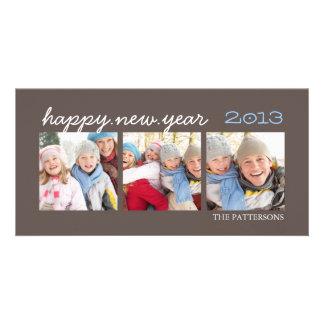 Moca Photocard de la foto de la Feliz Año Nuevo tr Tarjetas Fotográficas