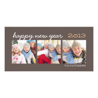 Moca Photocard de la foto de la Feliz Año Nuevo tr Tarjetas Personales Con Fotos