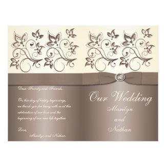 Moca y programa floral de marfil del boda tarjeton