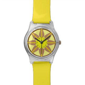 Moca y reloj amarillo de la flor