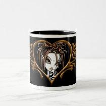 myka, jelina, gothic, fantasy, fairy, tattoos, faerie, fairies, dark, fae, art, Mug with custom graphic design