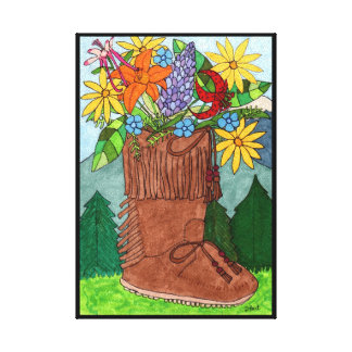 Moccasin Boot with Alpine Wildflowers Folk Art Canvas Print