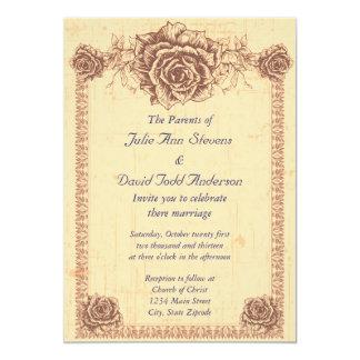 Moccasin  Vintage Rose Border Wedding Card