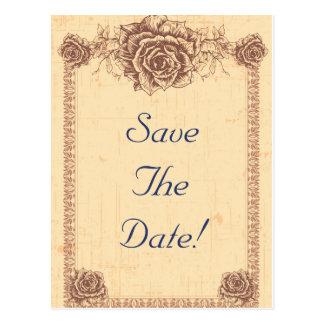 Moccasin  Vintage Rose Save The Date Postcard