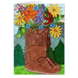 Moccasin with Alpine Wildflowers Card