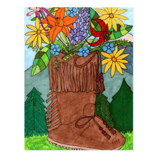 Moccasin with Alpine Wildflowers Postcard