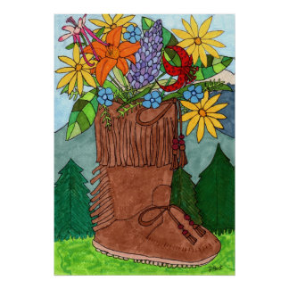 Moccasin with Alpine Wildflowers Poster