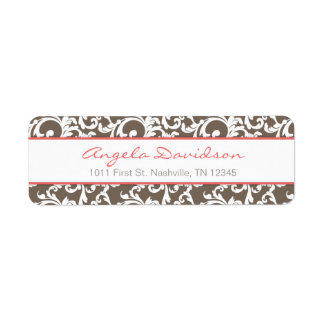 Mocha and Coral Elegant Damask Pattern Label