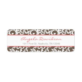 Mocha and Coral Elegant Damask Pattern Label