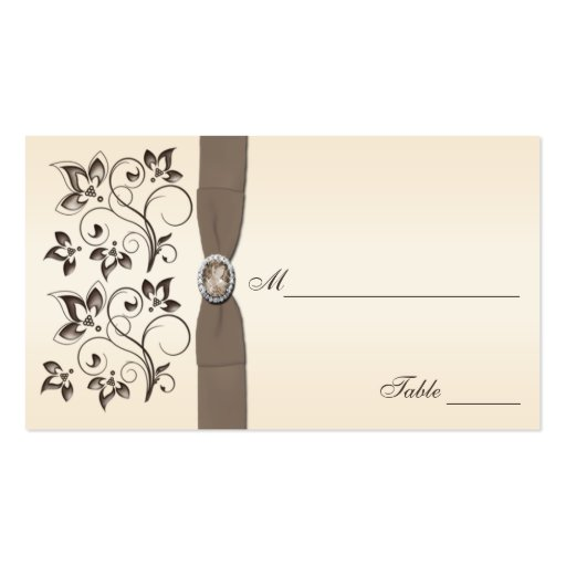 Mocha and Ivory Floral Placecards Business Cards