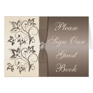 Mocha and Ivory Floral Table Card