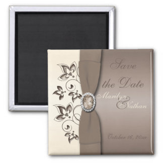 Mocha and Ivory Floral Wedding Favor Magnet