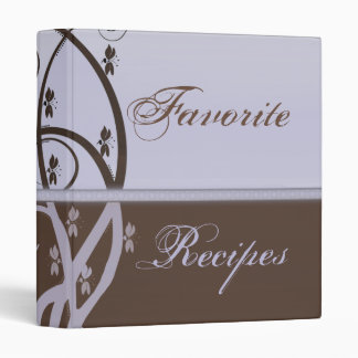 Mocha and Lilac Vine Recipe Book Binder