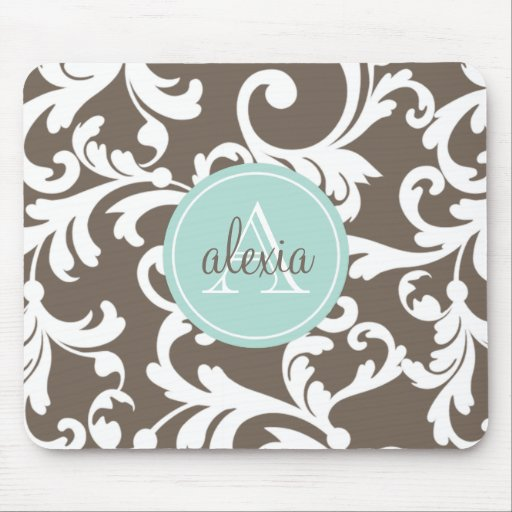 Mocha and Mint Monogrammed Damask Print Mouse Pad