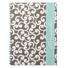 Mocha and Mint Monogrammed Elements Print Notebook