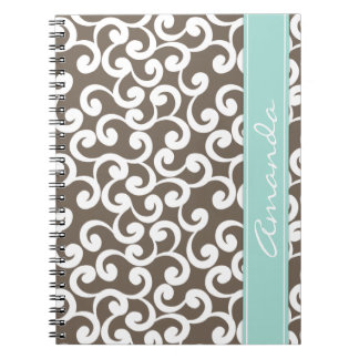 Mocha and Mint Monogrammed Elements Print Notebook