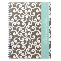 Mocha and Mint Monogrammed Elements Print Spiral Notebook