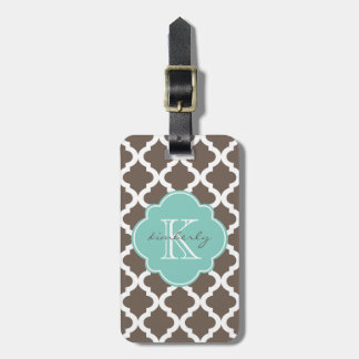 Mocha and Mint Moroccan Quatrefoil Print Luggage Tag