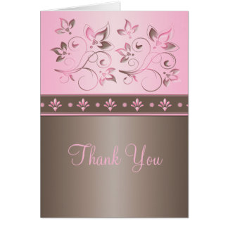 Mocha and Pink Floral Thank You Card
