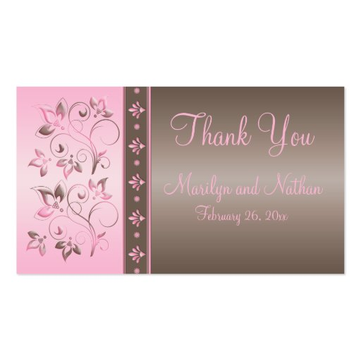 Mocha and Pink Floral Wedding Favor Tag Business Card
