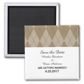 Mocha Argyle Save the Date Magnet