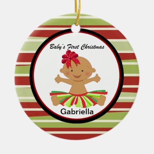 Mocha Baby Girl in Tutu 1st Christmas Ornament