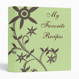 Mocha Bloom Vine Recipe Book 3 Ring Binder