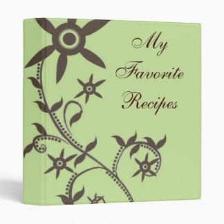 Mocha Bloom Vine Recipe Book 3 Ring Binders