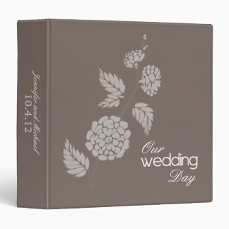 Mocha Blossom Our Wedding Day Album Personalized 3 Ring Binders